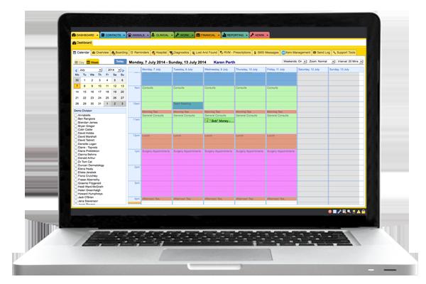 ezyVET Calendar Screen